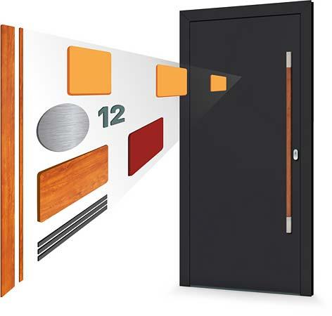 Ilustrační obrázek - vkládané aplikace na vchodových dveřích PERITO série Variable